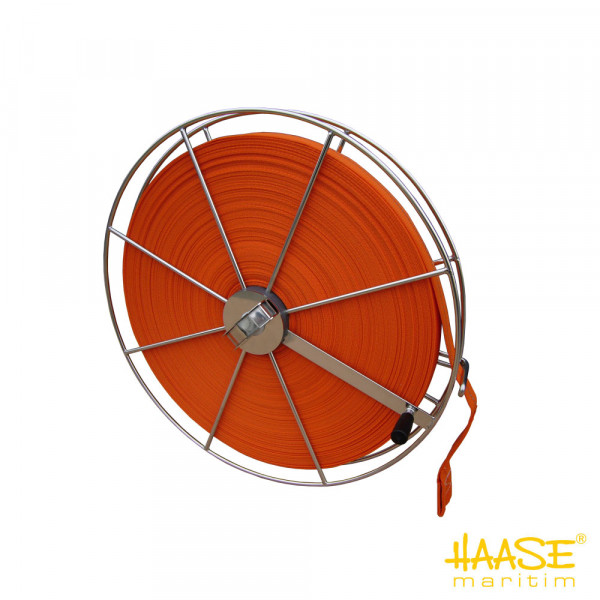 Rettungsgurtbandrolle mit schwimmfähigem, orangem Gurtband