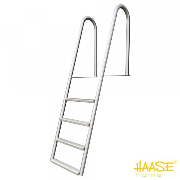Stegbadeleiter mit 4 Stufen, Edelstahl, freitragend
