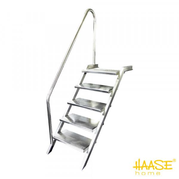 Elegante Pooltreppe aus Edelstahl V4A, 5 Stufen, Handlauf links